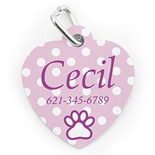 Médaille pour chien ou chat en forme de coeur, impression personnalisée pois rose clair
