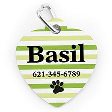 Médaille pour chien ou chat en forme de coeur, impression personnalisée rayure patte lime