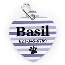 Médaille pour chien ou chat en forme de coeur, impression personnalisée rayure patte violette