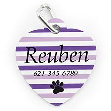 Médaille pour chien ou chat en forme de coeur, impression personnalisée rayure patte lavande