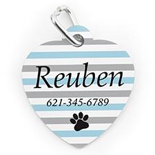 Médaille pour chien ou chat, impression personnalisée patte rayée turquoise