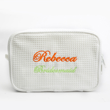 Two Text Line Embroidered Cotton Waffle Cosmetic Bag, White