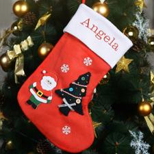 Bas de Noël nom brodé sapin, Père Noël, neige