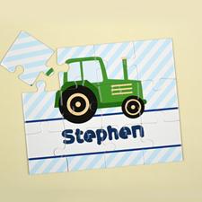 Puzzle pour enfants camion vert personnalisé