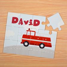 Puzzle pour enfants personnalisé voiture de pompiers