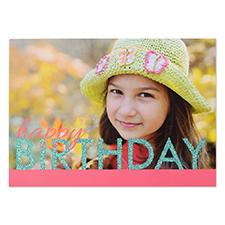 Créez votre propre carte d'invitation personnalisée anniversaire vif paillettes, cartes d'annonce roses turquoises 12,7 x 17,78 cm