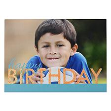 Créez votre propre carte d'invitation personnalisée anniversaire vif paillettes, cartes d'annonce bleues oranges 12,7 x 17,78 cm