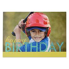 Créez votre propre carte d'invitation personnalisée anniversaire vif paillettes, cartes d'annonce jaunes bleues 12,7 x 17,78 cm