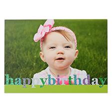 Créez vos propres cartes photo personnalisées paillettes Joyeux anniversaire, cartes d'annonce vertes