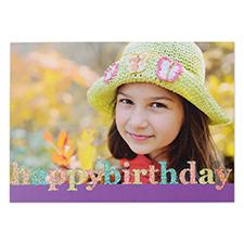 Créez vos propres cartes photo personnalisées paillettes Joyeux anniversaire, cartes d'annonce violettes