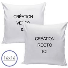 Coussin oreiller conception personnalisée recto et verso (sans insert) 40,64 x 40,64 cm