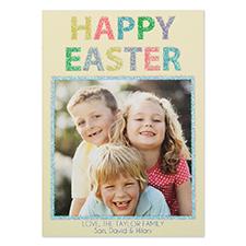 Carte photo personnalisée paillettes Pâques