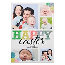 Carte photo personnalisée paillettes bulle Pâques