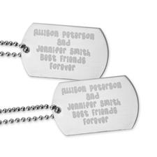 Pendentif plaque militaire message gravé meilleurs amis pour toujours