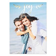 Créez votre propre carte photo personnalisée feuille d'or écriture joie