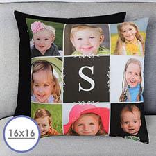 Coussin oreiller personnalisé monogrammé collage photo (sans insert) 40,64 x 40,64 cm