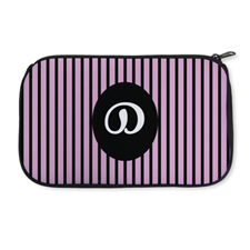 Personalized Neoprene Pink Strip Cosmetic Bag (6 X 10 Inch)