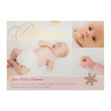Créez votre propre annonce de naissance de fille photo personnalisée bénie feuille d'or, cartes d'invitation 12,7 x 17,78 cm