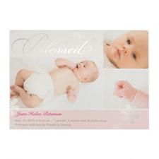 Créez votre propre annonce de naissance de fille photo personnalisée bénie feuille d'argent, cartes d'invitation 12,7 x 17,78 cm