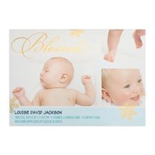 Créez votre propre annonce de naissance de garçon photo personnalisée béni feuille d'or, cartes d'invitation 12,7 x 17,78 cm