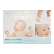 Créez votre propre annonce de naissance de garçon photo personnalisée béni feuille d'argent, cartes d'invitation 12,7 x 17,78 cm