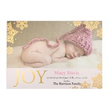 Créez votre propre annonce de naissance fille photo personnalisée bonheur feuille d'or, cartes d'invitation 12,7 x 17,78 cm