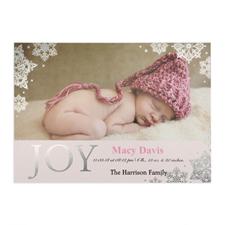 Créez votre propre annonce de naissance fille photo personnalisée bonheur feuille d'argent, cartes d'invitation 12,7 x 17,78 cm