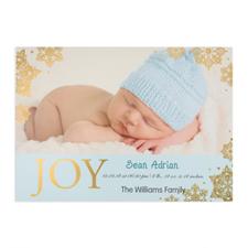 Créez votre propre annonce de naissance garçon photo personnalisée bonheur feuille d'or, cartes d'invitation 12,7 x 17,78 cm