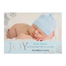 Créez votre propre annonce de naissance garçon photo personnalisée bonheur feuille d'argent, cartes d'invitation 12,7 x 17,78 cm