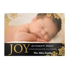 Créez votre propre annonce de naissance photo personnalisée bonheur feuille d'or, cartes d'invitation 12,7 x 17,78 cm