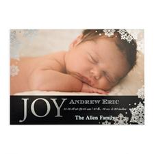 Créez votre propre annonce de naissance photo personnalisée bonheur feuille d'argent, cartes d'invitation 12,7 x 17,78 cm
