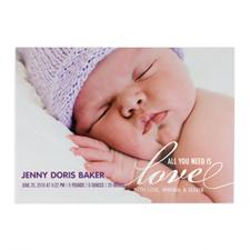 Créez votre propre annonce de naissance feuille d'argent tout ce dont vous avez besoin est l'amour, cartes d'invitation 12,7 x 17,78 cm