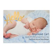 Créez votre propre annonce de naissance photo personnalisée Bonjour feuille d'or, cartes d'invitation 12,7 x 17,78 cm