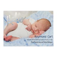 Créez votre propre annonce de naissance photo personnalisée Bonjour feuille d'argent, cartes d'invitation 12,7 x 17,78 cm