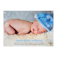 Créez votre propre annonce de naissance photo personnalisée Bonjour monde feuille d'or, cartes d'invitation 12,7 x 17,78 cm