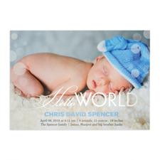 Créez votre propre annonce de naissance photo personnalisée Bonjour monde feuille d'argent, cartes d'invitation 12,7 x 17,78 cm