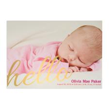 Créez votre propre annonce de naissance photo personnalisée feuille d'or dis bonjour, cartes d'invitation 12,7 x 17,78 cm