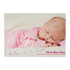 Créez votre propre annonce de naissance photo personnalisée feuille d'argent dis bonjour, cartes d'invitation 12,7 x 17,78 cm