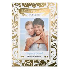 Carte réservez la date de mariage personnalisée feuille d'or florale