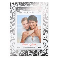 Carte réservez la date de mariage personnalisée feuille d'argent florale