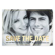 Cartes photo réservez la date personnalisées feuille d'or élégante