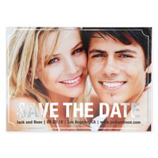 Cartes photo réservez la date personnalisées feuille d'argent élégante