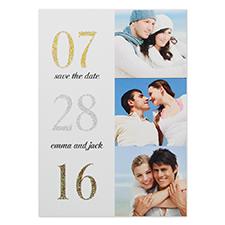 Cartes photo annonce de mariage personnalisées paillettes collage pour deux