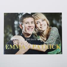 Carte photo paillettes réservez la date personnalisée charme élégant 12,7 x 17,78 cm