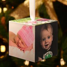 Ornement Noël cube en bois galerie photo