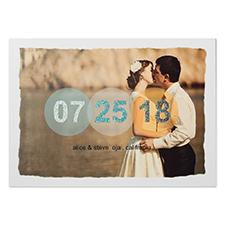 Cartes d'annonce de mariage photo personnalisées pure romance paillettes 12,7 x 17,78 cm