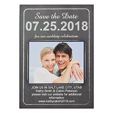 Carte photo Réservez la date personnalisée tableau noir amour, 12,7 x 17,78 cm