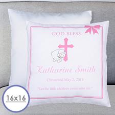 Housse de coussin oreiller personnalisée baptême fille 40,64 x 40,64 cm (sans insert)