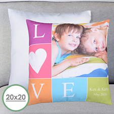 Large housse de coussin oreiller personnalisée photo amour 50,8 x 50,8 cm (sans insert)