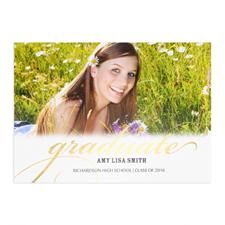 Carte photo personnalisée feuille d'or diplômé